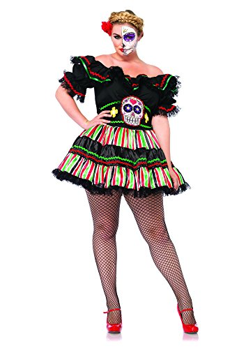 [Leg Avenue Women's Plus-Size 2 Piece Day Of The Dead Doll Costume, Black/Multi-Colored, 3X/4X] (Plus Size Womens Halloween Costumes 2016)
