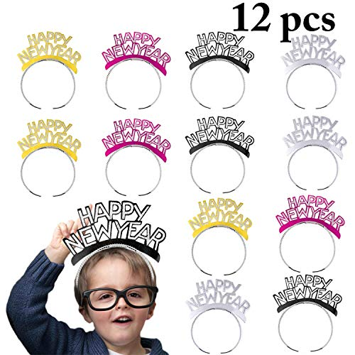 Happy New Year Headband,Outgeek 12PCS Happy New Year Hair Clasp Aluminum Foil Glitter Head wear Hairband Costume Party Favor Tiaras Party Hair Accessory  -
