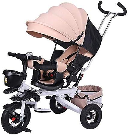 JINHH Plegable Triciclo, Los Niños Ligero De La Bicicleta Cabrito Cochecito Multifunción Reclinado con El Toldo del Sistema De Frenos En Color Kid6