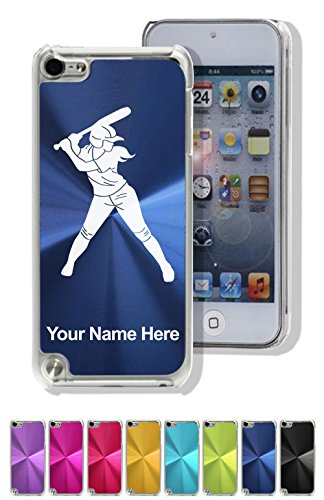 Aluminum Ipod Touch Case - Case for iPod Touch 5th/6th Gen - Softball Player Woman - Personalized Engraving Included