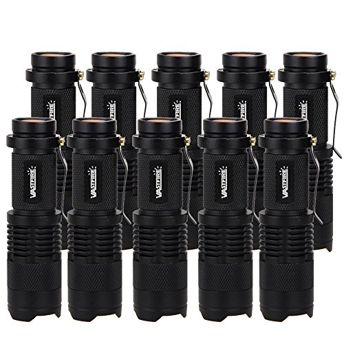 VastFire 850nm 5W IR Zoomable LED Infrared Tactical Flashlight Torch Outdoor Sports Hunting Watching Lantern Camping Night Vision AA/14500 (Black) (10PCS - Summer Ray Naked