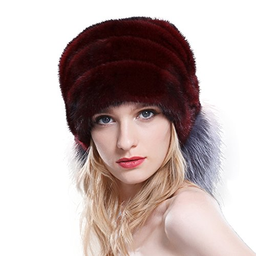 URSFUR Mink Fur Beanie Hat with Finn Silver Fox Brim (Burgundy) by URSFUR