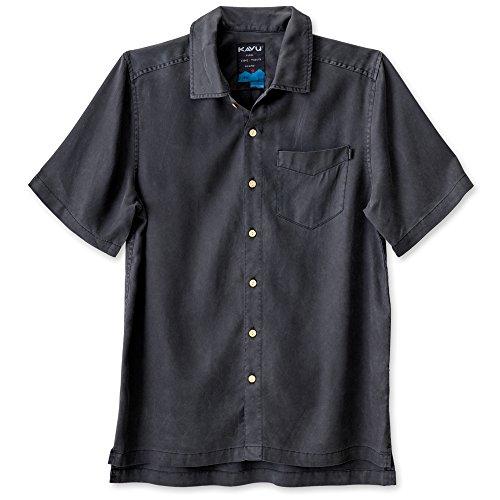 KAVU Men's Keep It Classy Button Down Shirts, Black, Medium