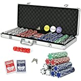 Smartxchoices 500 Poker Chips Set 11.5 Gram Dice Style Poker Chips w/Aluminum Case, Cards, Dices, Blind Button for for Texas Holdem, Blackjack, Gambling