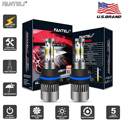 - FANTELI 9004/HB1 3-Sided LED Headlight Bulbs All-in-One Conversion Dual Beam High/Low Beam Kit - 72W 8000LM 6000K Xenon HID Cool White Extremely Bright Lamp Replacements - 5 Years Warranty