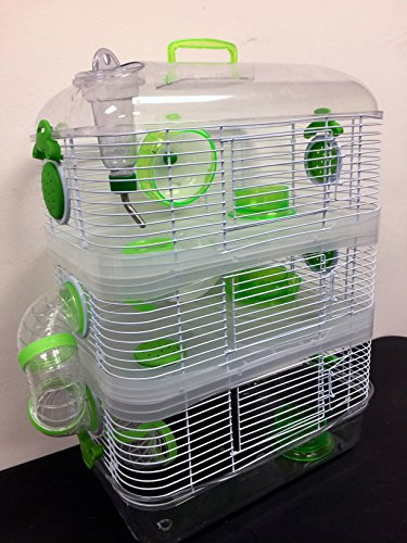 New Sparkle Clear 3 Solid Floor Levels Habitat Syrian Hamster Rodent Gerbil Mouse Mice Cage Transparent (Green)
