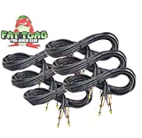 Guitar Cords (6 Pack) Instrument Cable by Fat Toad|20 FT 1/4 Inch Straight-End Wires for Electric or Acoustic Guitar, Bass, Keyboards and Music Sound Recording Studio|Shielded 20 Gauge Patch Conductor
