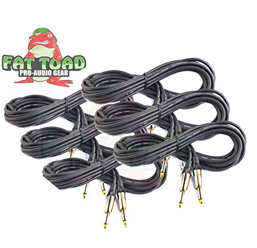 Guitar Cords (6 Pack) Instrument Cable by Fat Toad|20 FT 1/4 Inch Straight-End Wires for Electric or Acoustic Guitar, Bass, Keyboards and Music Sound Recording Studio|Shielded 20 Gauge Patch Conductor (Cables Electric Acoustic Guitar)