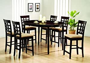 Oval Dining Room Table Set Counter Height Wheat Back