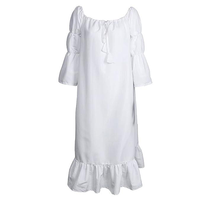 Cusfull Traje Medieval Vestido con Hombros al Aire Camisa de Estilo de Renacimiento para Mujeres Chicas