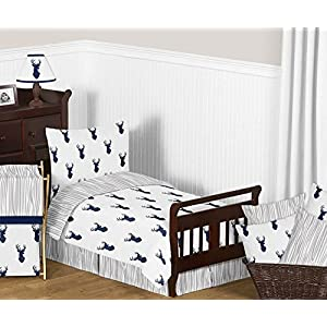 Sweet Jojo Designs Baby Children Kids Clothes Laundry Hamper for Navy Blue White and Grey Woodland Deer Bedding Set