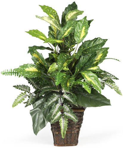 Nearly Natural 6527 Greens with Wicker Decorative Silk Plant, Green by Nearly Natural