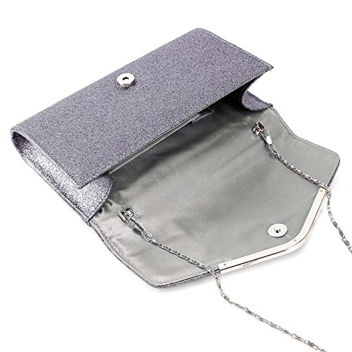 Gris Femme Anladia a Sac besace mariee mariage chaine Pochette soiree main Glitter XwBZXx