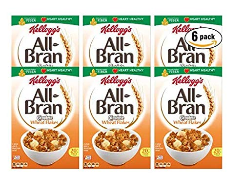 Kellogg's All-Bran Complete Wheat Flakes Cereal, 18 oz Box (Pack of 6, Total of 108 Oz) ()