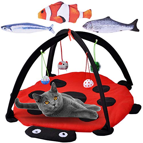 MyfatBOSS Cat Play Mat, Catnip Fish, Catnip Toys Set Simulation Fish, Cat Tent Activity Center with Hang Cat Toys, Outdoor Bed Play Tent for Cat