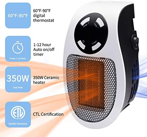 Minetom 350W Space heater, Wall Outlet Electric Space Heater As Seen on TV with Adjustable Thermostat & Timer & LED Display, Compact for Office Dorm Room