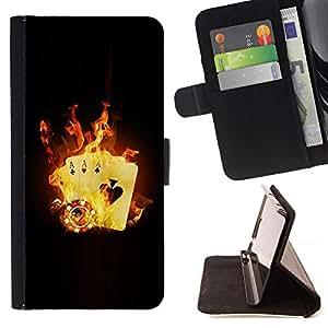 Momo Phone Case / Flip Funda de Cuero Case Cover - Tarjeta de llamas de fuego Juego Poker Casino Símbolo - Samsung Galaxy S5 V SM-G900