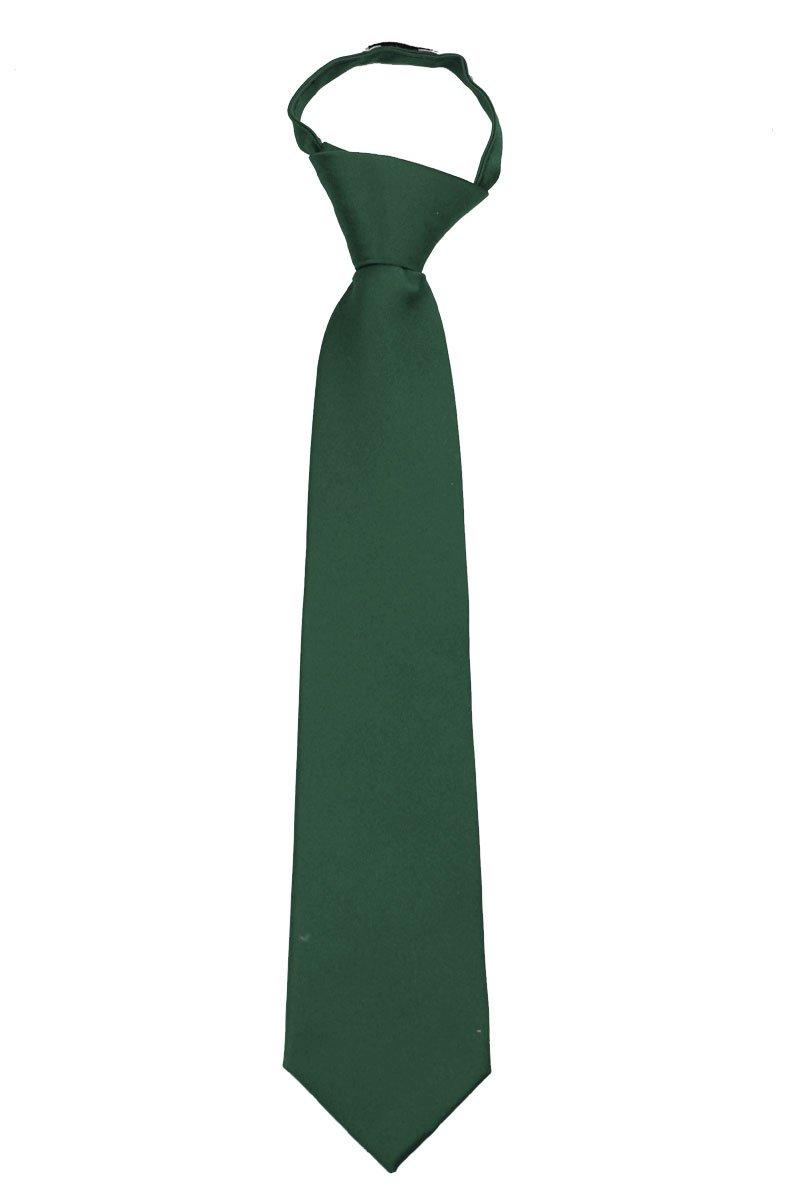 Boys Solid Formal Tuxedo 14 inch Zipper Necktie