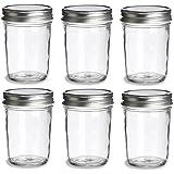 Nakpunar 6 pcs, 8 oz Mason Jars with Silver Lids for Jam, Honey, Wedding Favors, Shower Favors, Baby Foods, Canning, spices, Half Pint