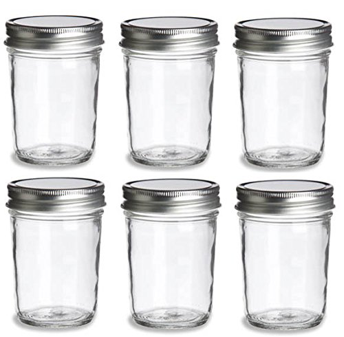 Nakpunar 6 pcs, 8 oz Mason Jars with Silver Lids for Jam, Honey, Wedding Favors, Shower Favors, Baby Foods, Canning, spices, Half Pint