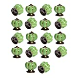 Yazer Excellent Unique Personality Ceramic Pumpkin Knobs Vintage Pulls and Handles for Drawers,Cabinet,Wardrobe,Dresser[Pack of 18] (Green)