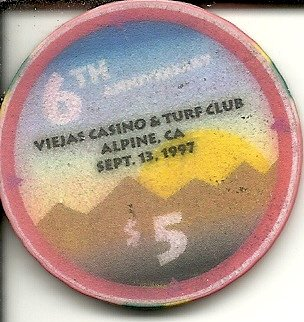 $5 viejas casino alpine california casino chip - Viejas Alpine