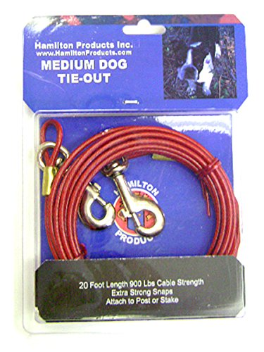 Plastic Dog Leash (Hamilton Medium Weight Plastic Coated Dog Tie Out with Brass Snaps, 20-Feet)