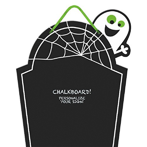Chalkboard Tombstone Family Friendly Halloween Trick or Treat Party Hanging Decoration, Paper, 15