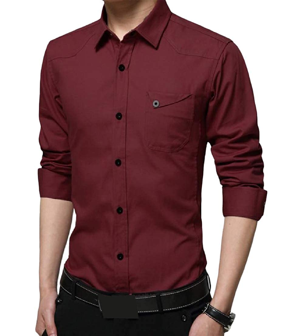 Pandapang Mens Concise Turn Down Long Sleeve Pocket Pure Color Button Front Shirts