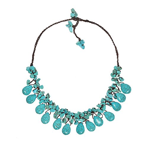 (AeraVida Enchanting Teardrop Simulated Turquoise Cluster Stone Cotton Wax Rope Collar Necklace)