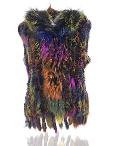 Uilor Women's 100% Natural Knit Rabbit Fur Vest with Raccoon Fur Collar