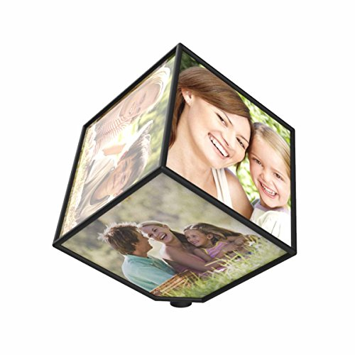 Lavish Home Revolving Photo Cube- Rotating Picture Frame Box to Display Multiple Photos for Home, Office or Desk, Holds 6 Photos