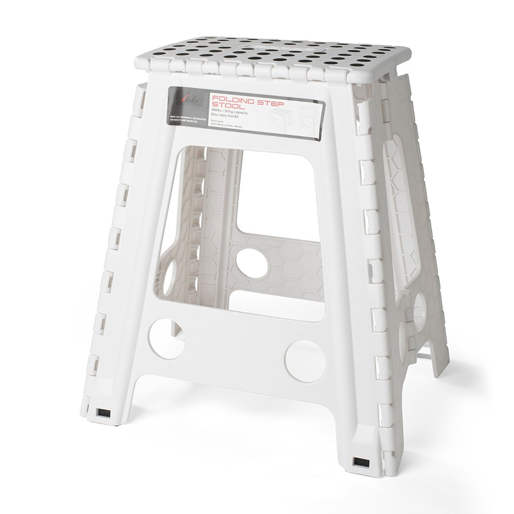 Peachy Details About Acko White 18 Inches Non Slip Folding Step Stool For Kids And Adults With Handle Frankydiablos Diy Chair Ideas Frankydiabloscom