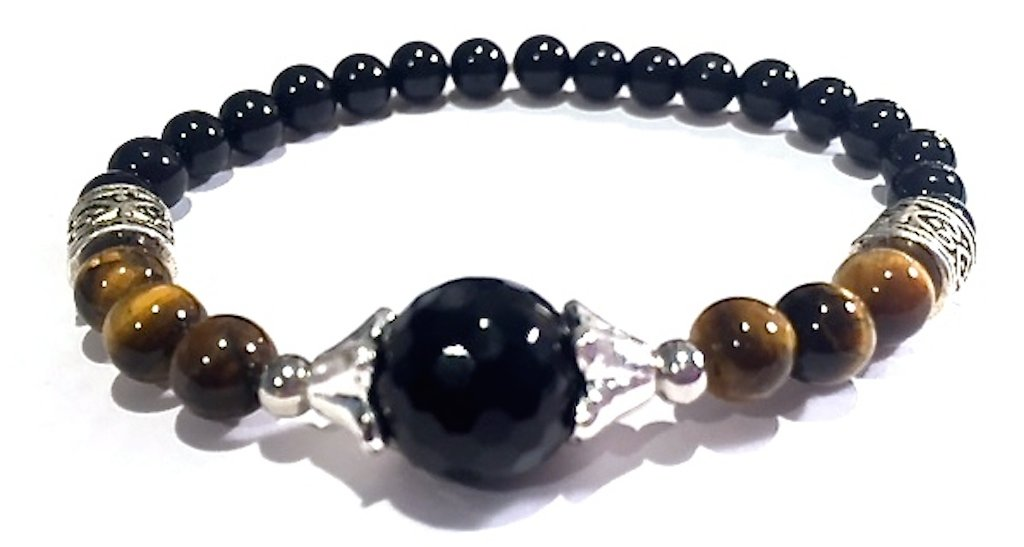 Handmade Black Onyx Black Tourmaline and Tigers Eye Healing Bracelet 8 Inches