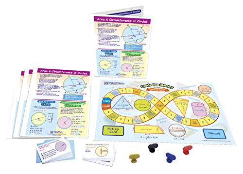 NewPath Learning 23-6969 Area and Circumference of Circles Learning Center (Grades 6-9) - Game Board, 30 Illustrated Game Cards and Four 4-Panel, Laminated