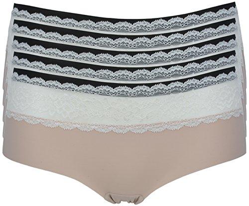 Ex-Store, Bragas, de talle bajo, no marca la ropa exterior 5 Pack Nude + Cream Lace Trim