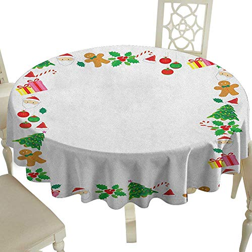 Clear Round Tablecloth 54 Inch Kids Christmas,Colorful Border with Different Clip Arts Holiday Festivity Santa Trees Balls Multicolor Great for Traveling & -