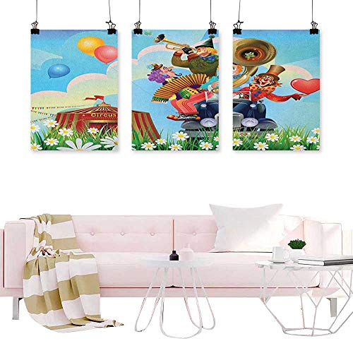 J Chief Sky Circus,Canvas Art Wall Decor Clowns Vintage Car Circus Big top Daisies Flowers Heart in Meadow Fun Design Art Canvas Print Wall Art W24 x L36 x3pcs ()