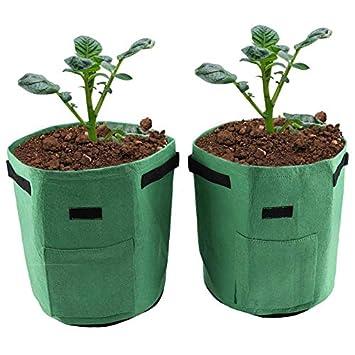 no tejida para plantas reutilizable duradero cultivaci/ón con correa Bolsa de cultivo para patatas transpirable contenedor de jardiner/ía maceta tela de aireaci/ón vegetales