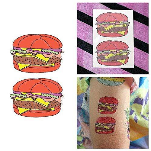 Tattify Cartoon Hamburger Temporary Tattoo - Burger Duo (Set of 2) - Other Styles Available and Fashionable Temporary Tattoos - Disney Duo Costume Ideas