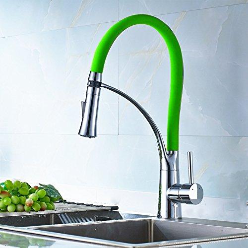 NewBorn Faucet Küche Küche Küche Oder Badezimmer Waschbecken Mischbatterie Wasserhahn Voll Kupfer Wasser Warm und Kalt 360° drehbaren Feder Pull-Down Schwarz Tippen bba40e