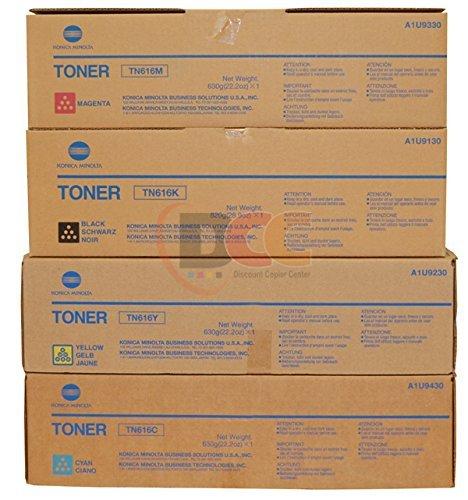Genuine Konica Minolta TN616 CYMK Toner Set for Bizhub PRESS C6000 (Genuine Konica Part)