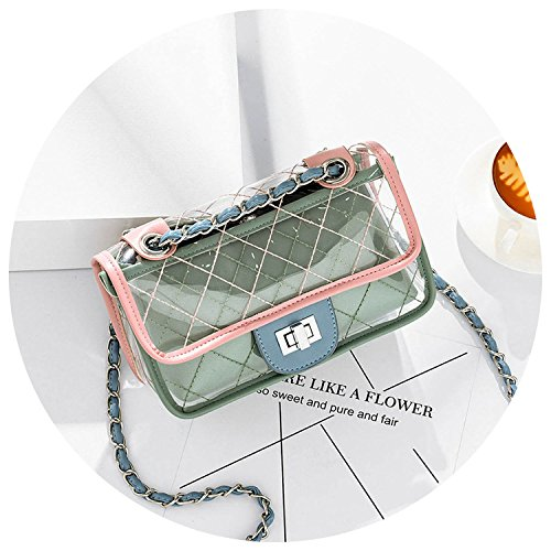 Fashion Messenger casual shoulder Blue bag bag Jelly summer plaid bag jelly 2018 transparent chain female fYPgRqfd