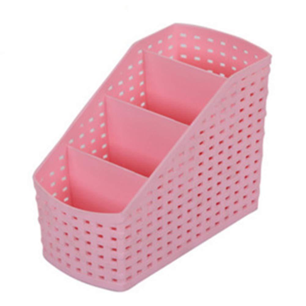 GETMORE7 Storage Boxes, Container Simple Shape Holder Plastic 4 Grids Storage Box Desktop Portable 81512.5cm(Pink)