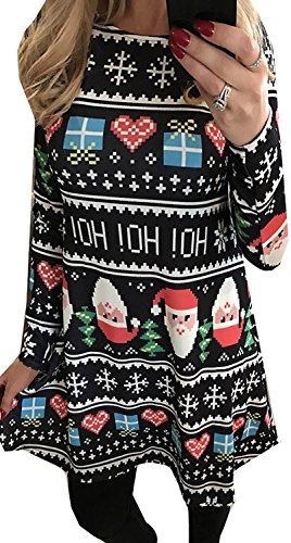 For G and PL Women Christmas Long Sleeve Dress Christmas Hoho M -