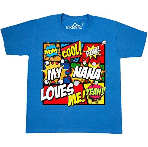 Nana T-shirt Youth - inktastic - My Nana Loves Youth T-Shirt Youth Large (14-16) Pacific Blue 2fe0e