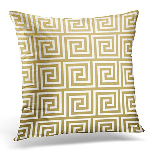 TORASS Throw Pillow Cover Retro Squares Elegant Gold and White Greek Key Contemporary Decorative Pillow Case Home Decor Square 16x16 Inches ()