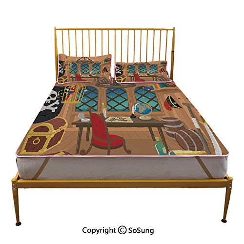 Pirate Creative Queen Size Summer Cool Mat,Cabin of a Pirate Captain Parrot in Cage Jolly Roger Treasure Chest Liquor Barrels Sleeping & Play Cool Mat,Multicolor
