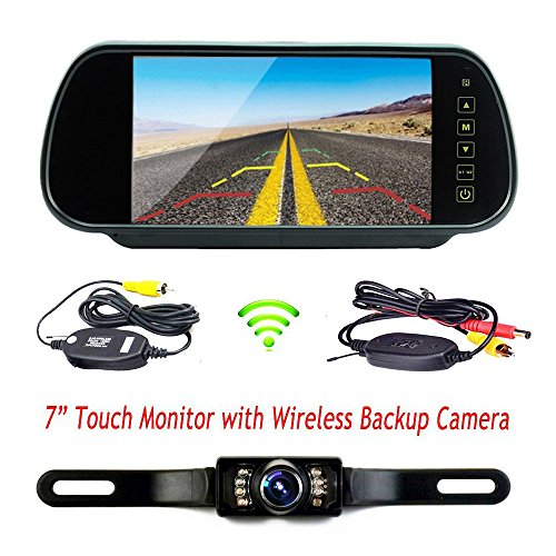 podofo wireless car backup camera parking system 7 lcd touch button car monitor with waterproof. Black Bedroom Furniture Sets. Home Design Ideas