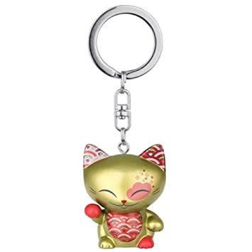 Porte clé chat porte bonheur Mani the Lucky Cat doré collier ...